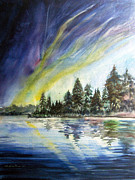 Wisconsin Landscape  Painting Originals - Northern Lights by Kristine Plum