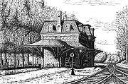 Train Drawings Originals - Northern New England Depot by Bruce Kay