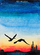 Canadian Geese Paintings - Northern Nightfall by R Kyllo
