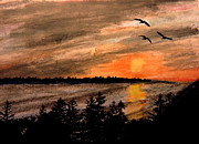 Sea Birds Pastels Framed Prints - Northern Shore  Framed Print by R Kyllo