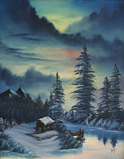 Snowfall Paintings - Northern Sunset by Troy Wilfong