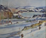 New England Snow Scene Painting Posters - Northern Vermont Poster by Dorothy Campbell Therrien