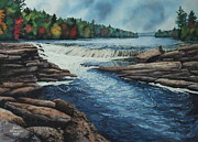 Waterfalls Paintings - Northern Whitewater by Karen Richardson