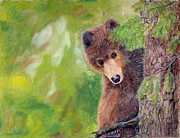 Cubs Pastels Posters - Northwoods Bear Cub Poster by Barb Kirpluk