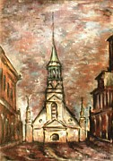 Pencil On Canvas Framed Prints - Nortre Dame Chapel - Montreal Canada Oil Framed Print by Peter Art Prints Posters Gallery