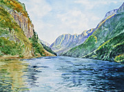 Norway Painting Framed Prints - Norway Fjord Framed Print by Irina Sztukowski