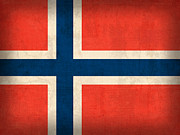 Scandinavian Framed Prints - Norway Flag Distressed Vintage Finish Framed Print by Design Turnpike