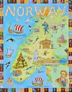 Map Of The World Painting Posters - Norway Land of the Midnight Sun        Poster by Virginia Ann Hemingson