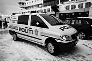 Police Van Framed Prints - Norwegian Police Vehicle Outside Nordkapp Police Station Honningsvag Finnmark Norway Europe Framed Print by Joe Fox