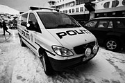 Police Van Framed Prints - Norwegian Police Vehicle Outside Nordkapp Police Station Honningsvag Finnmark Norway Framed Print by Joe Fox