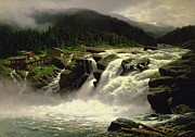 Natural White Posters - Norwegian Waterfall Poster by Karl Paul Themistocles van Eckenbrecher
