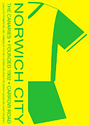 Home Football Game Posters - Norwich City Premier League Football Club Poster by Neil Finnemore