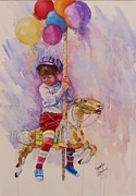 Merry-go-round Painting Originals - Norwood Day by Laura Lee Zanghetti