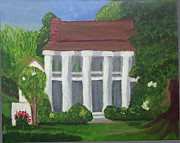 Live Oak Trees Paintings - Norwood Plantation Home by Margaret Harmon
