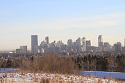 Rolling Doors Framed Prints - Nose Hill Park View of Calgary Framed Print by Helen  Bobis