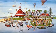 Awesome Painting Framed Prints - Nostalgia Hotel Del Coronado Framed Print by John YATO