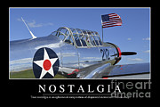 Vultee Bt-13 Valiant Prints - Nostalgia Inspirational Quote Print by Stocktrek Images
