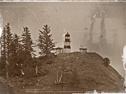 Disappointment Mixed Media Prints - Nostalgic Cape Disappointment Lighthouse 3 Print by Chalet Roome-Rigdon