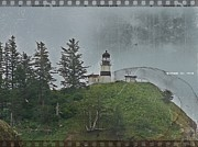 Disappointment Mixed Media Prints - Nostalgic Cape Disappointment Lighthouse Print by Chalet Roome-Rigdon