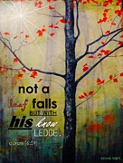 Ayat Paintings - Not a Leaf Falls by Salwa  Najm