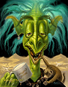 Coffee Prints Framed Prints - Not Enough Coffee Troll Framed Print by Jeff Haynie