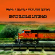 Cindy Wright Posters - Not in Kansas Anymore Train Poster by Cindy Wright