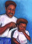 African American Artist Pastels Posters - Not in the Mood for a Haircut Poster by Alga Washington