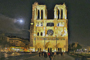 Old Town Digital Art Framed Prints - Noter Dame de Paris at Night 2 Framed Print by Yury Malkov