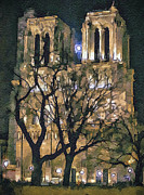 Old Town Digital Art Prints - Noter Dame de Paris at Night Print by Yury Malkov