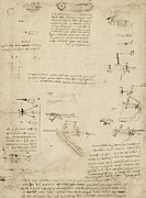 Engineering Drawings Prints - Notes about perspective and sketch of devices for textile machinery from Atlantic Codex Print by Leonardo Da Vinci