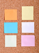 Sticky Note Prints - Notes on a bulletin board Print by Luis Santos