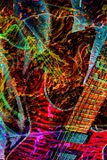 Pickin Digital Art Prints - Notes on Fire DIgital Guitar Art by Steven Langston Print by Steven Lebron Langston