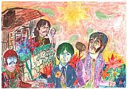 Beatles Pastels Prints - Nothing is real Print by Moshe Liron