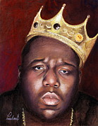 Icon  Pastels Metal Prints - Notorious BIG - Biggie - Portrait Metal Print by Prashant Shah