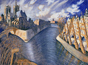 Beautiful Scenery Painting Posters - Notre Dame Cathedral Poster by Charlotte Johnson Wahl
