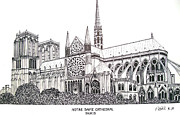Historic Buildings Drawings Posters - Notre Dame Cathedral - Paris Poster by Frederic Kohli