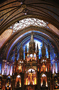 Quebec Places Prints - Notre Dame Ceiling Print by John Rizzuto