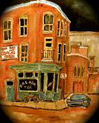 Store Fronts Paintings - Notre Dame Corner by Michael Litvack