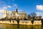 French Gothic Architecture Posters - Notre Dame de Paris and the River Seine Poster by Mark E Tisdale