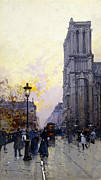 Lit Painting Framed Prints - Notre Dame de Paris Framed Print by Eugene Galien-Laloue