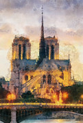 T Travel Posters - Notre Dame de Paris Poster by Mo T