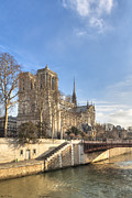 French Gothic Architecture Posters - Notre Dame de Paris on a Sunny Winter Day Poster by Mark E Tisdale