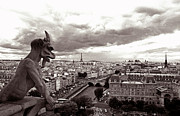 Paris Prints Photos - Notre Dame Gargoyle by Kathy Yates