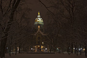 Notre Dame Photos - Notre Dame Golden Dome Snow by John Stephens
