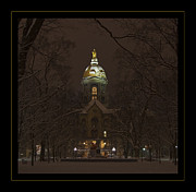 Notre Dame Photos - Notre Dame Golden Dome Snow Poster by John Stephens