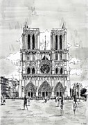 Eiffel Tower Drawings Metal Prints - Notre-Dame Metal Print by Nicolas Jolly