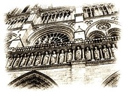 Columns Drawings Metal Prints - Notre Dame Pencil Metal Print by Jenny Hudson