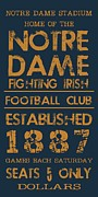 Vintage Sign Prints - Notre Dame Stadium Sign Print by Jaime Friedman