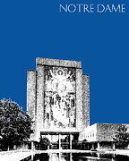 Notre Dame University Skyline Hesburgh Library - Royal Blue Print by DB Artist