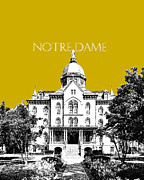 Notre Dame University Skyline Main Building - Gold Print by DB Artist